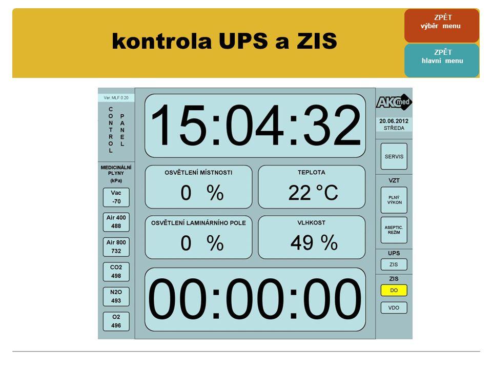 ZPÉT výběr menu ZPĚT hlavní menu kontrola UPS a ZIS
