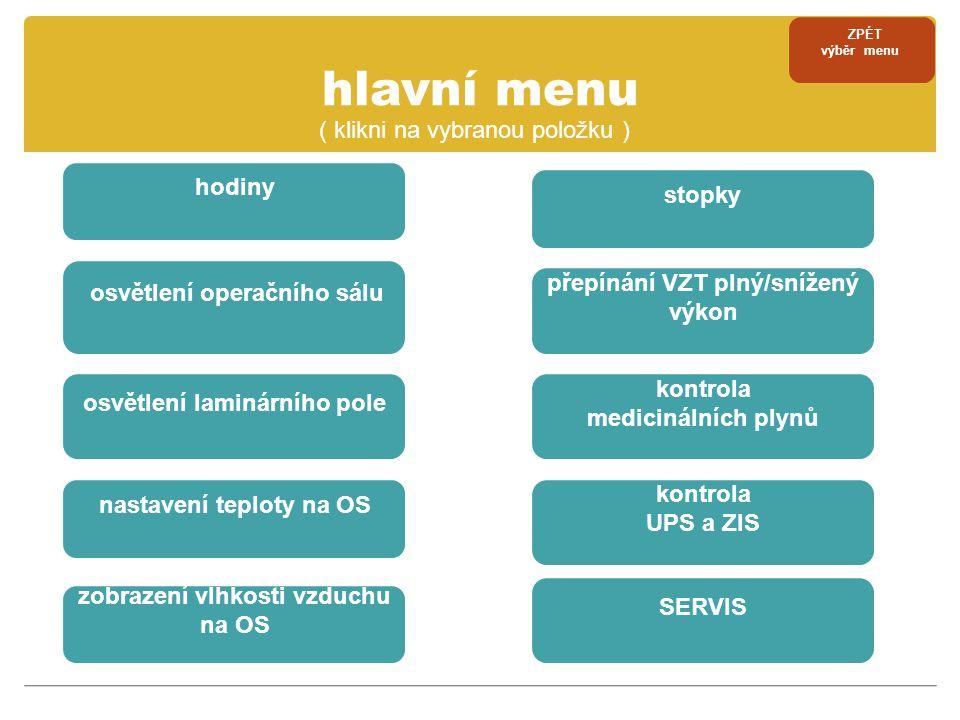 servisní menu ZPÉT výběr menu