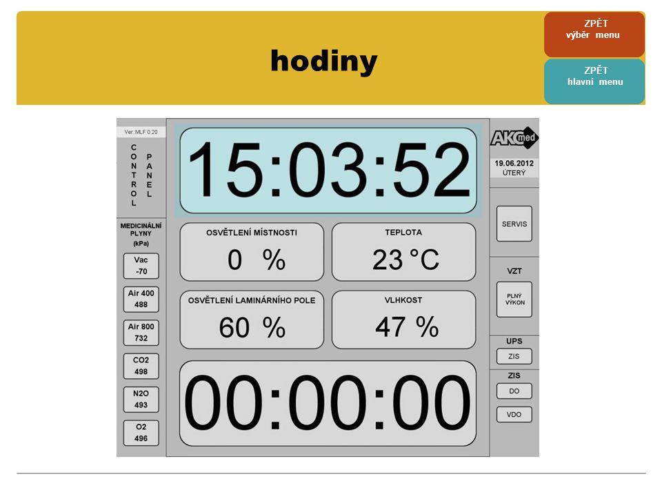 servisní menu • servisní menu je přístupné po dotyku na tlačítko SERVIS • při náhodném dotyku na tlačítko SERVIS se systém sám po 3 vteřinách vrátí do základního menu • pokud se již pohybujeme v servisním menu, návrat je možný po dotyku na tlačítko ZPĚT • v tomto menu je možno provádět pravidelný test DO a VDO, nastavit čas a datum, zobrazit historii alarmů a zjistit stav některých částí MFP • přes tlačítko NASTAVENÍ PARAMETRU se vstupuje do dalšího menu ZPÉT výběr menu