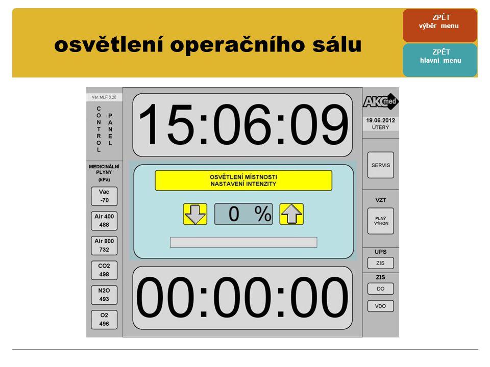 • MFP monitoruje stav zdravotnické izolované soustavy • v případě poruchy ( UPS, DO, VDO) vyhlásí alarm • alarm je zvukový a součastně je barevně ( žlutě, červeně - podle druhu závady ) zvýrazněno příslušné pole ZIS • v případě alarmu je také zobrazeno alarmové hlášení s nápovědou, jak se má personál zachovat ( individuálně nastaveno ) • po odkvitování alarmu ( dotyku plochy s alarmovým hlášením ) je ukončen zvukový signál, ale příslušné pole ZIS je do odstranění poruch červeně podsvíceno • alarmové hlášení lze kdykoli vyvolat po dotyku červeně podsvíceného pole ZIS ( bez zvukového alarmu ) kontrola UPS a ZIS ZPÉT výběr menu ZPĚT hlavní menu