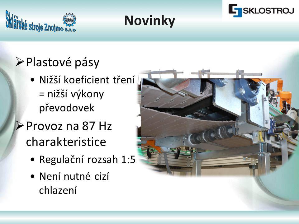  Inteligentní řízení systému •Na bázi Siemens Simatic S7-200 s touch panelem •centrální ovládání systému z rozvaděče •chod v automatickém a manuálním módu •ovládání jednotlivých dopravníků (nastavení rychlosti, zastavení/spuštění) jak na místě tak z panelu Novinky