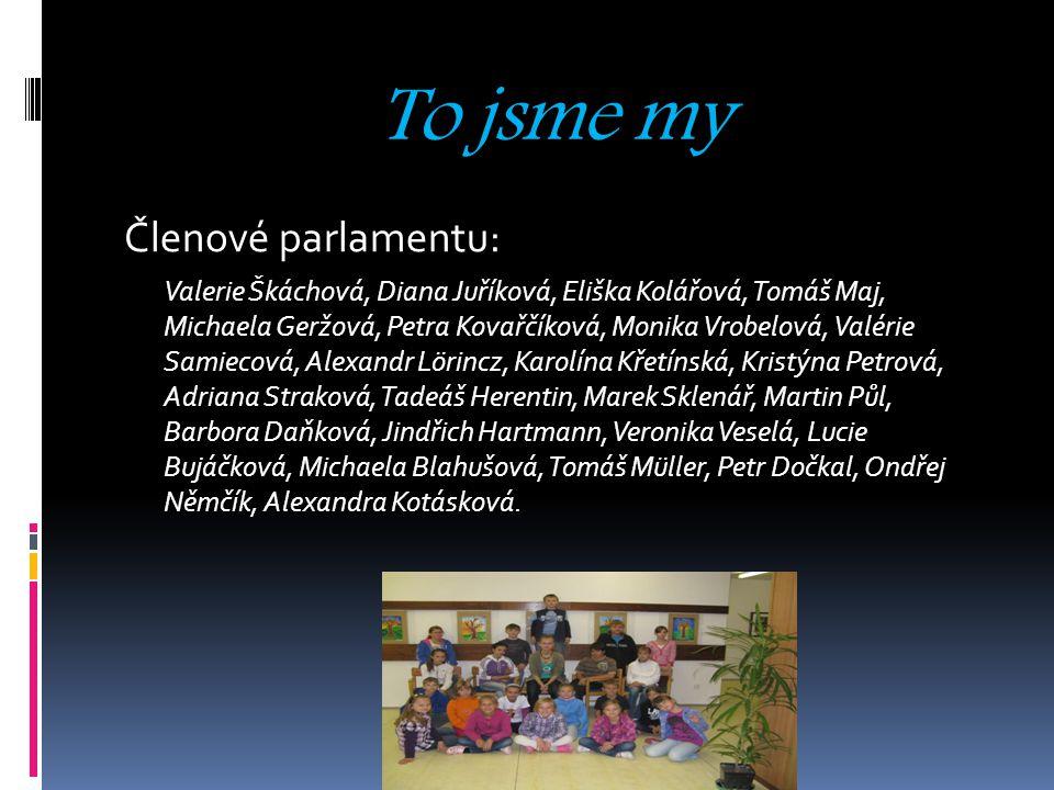 To jsme my Členové parlamentu: Valerie Škáchová, Diana Juříková, Eliška Kolářová, Tomáš Maj, Michaela Geržová, Petra Kovařčíková, Monika Vrobelová, Va