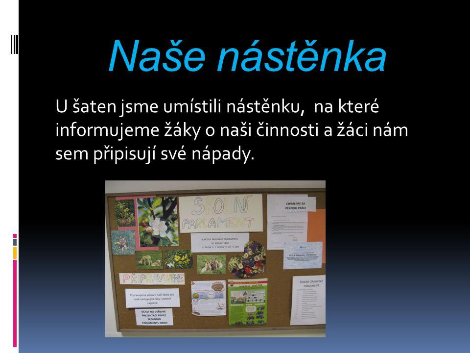 Naše nástěnka U šaten jsme umístili nástěnku, na které informujeme žáky o naši činnosti a žáci nám sem připisují své nápady.