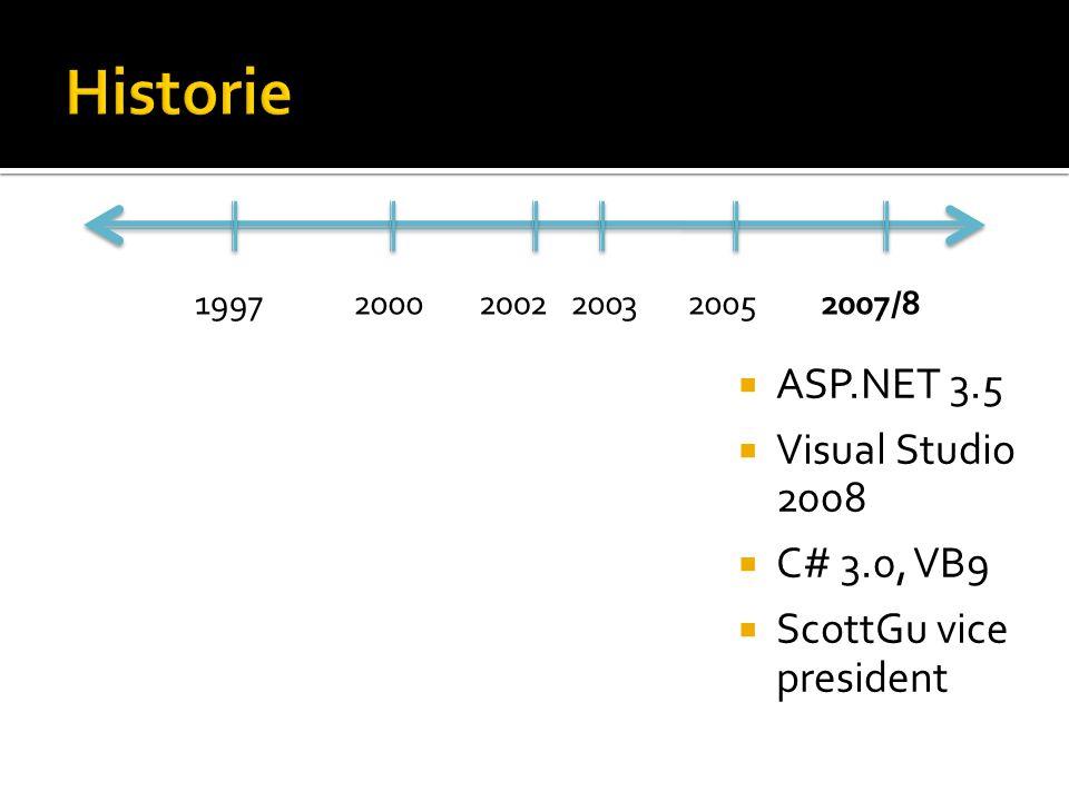  ASP.NET 3.5  Visual Studio 2008  C# 3.0, VB9  ScottGu vice president 199720002002200320052007/8