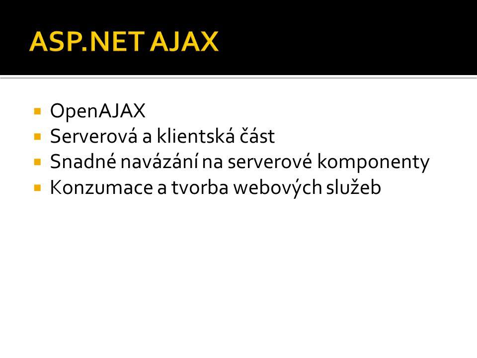  OpenAJAX  Serverová a klientská část  Snadné navázání na serverové komponenty  Konzumace a tvorba webových služeb