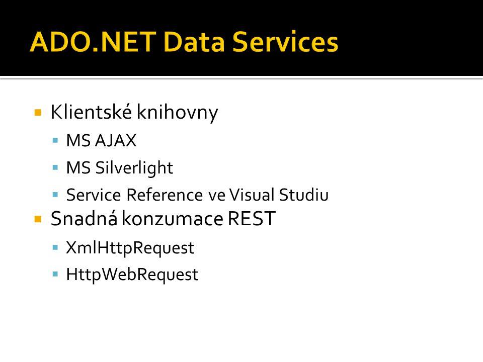  Klientské knihovny  MS AJAX  MS Silverlight  Service Reference ve Visual Studiu  Snadná konzumace REST  XmlHttpRequest  HttpWebRequest