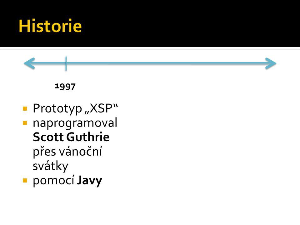 """ Prototyp """"XSP  naprogramoval Scott Guthrie přes vánoční svátky  pomocí Javy 1997"""