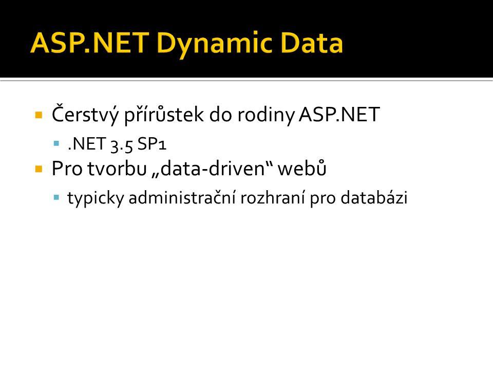 """ Čerstvý přírůstek do rodiny ASP.NET .NET 3.5 SP1  Pro tvorbu """"data-driven webů  typicky administrační rozhraní pro databázi"""