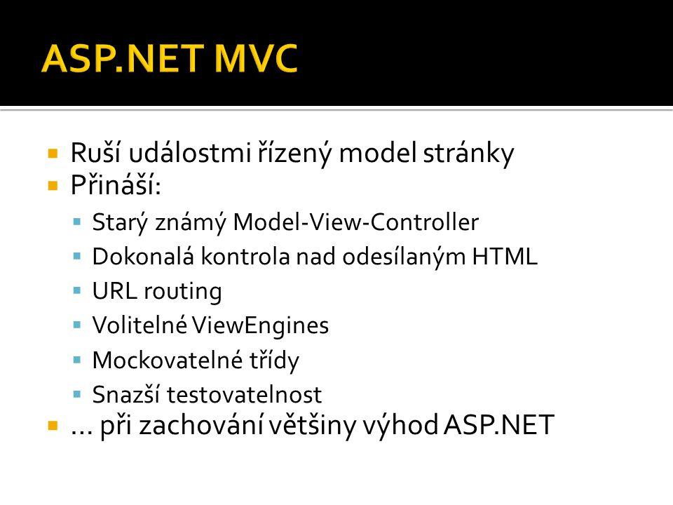  Ruší událostmi řízený model stránky  Přináší:  Starý známý Model-View-Controller  Dokonalá kontrola nad odesílaným HTML  URL routing  Volitelné ViewEngines  Mockovatelné třídy  Snazší testovatelnost  … při zachování většiny výhod ASP.NET