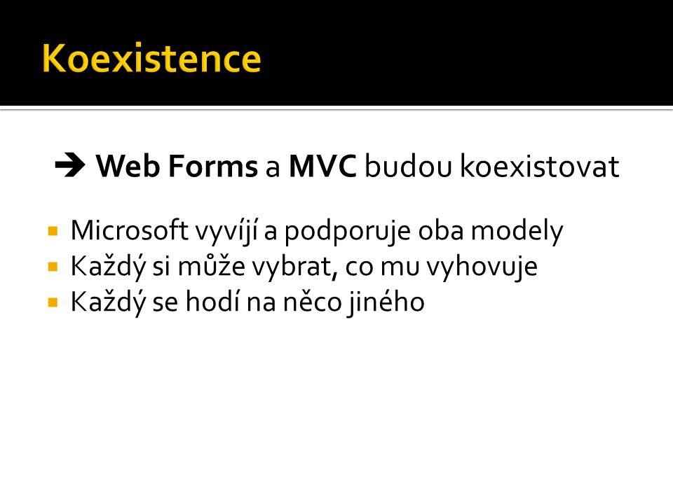  Microsoft vyvíjí a podporuje oba modely  Každý si může vybrat, co mu vyhovuje  Každý se hodí na něco jiného  Web Forms a MVC budou koexistovat