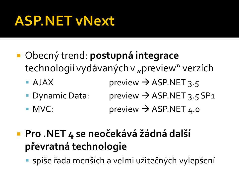 """ Obecný trend: postupná integrace technologií vydávaných v """"preview verzích  AJAXpreview  ASP.NET 3.5  Dynamic Data:preview  ASP.NET 3.5 SP1  MVC:preview  ASP.NET 4.0  Pro.NET 4 se neočekává žádná další převratná technologie  spíše řada menších a velmi užitečných vylepšení"""