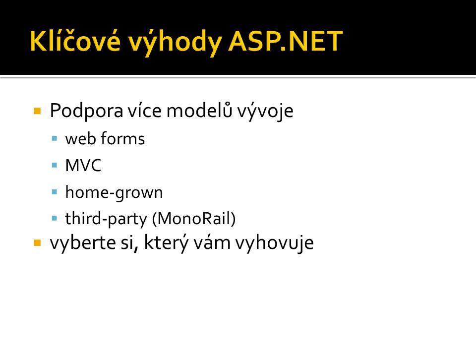  Podpora více modelů vývoje  web forms  MVC  home-grown  third-party (MonoRail)  vyberte si, který vám vyhovuje