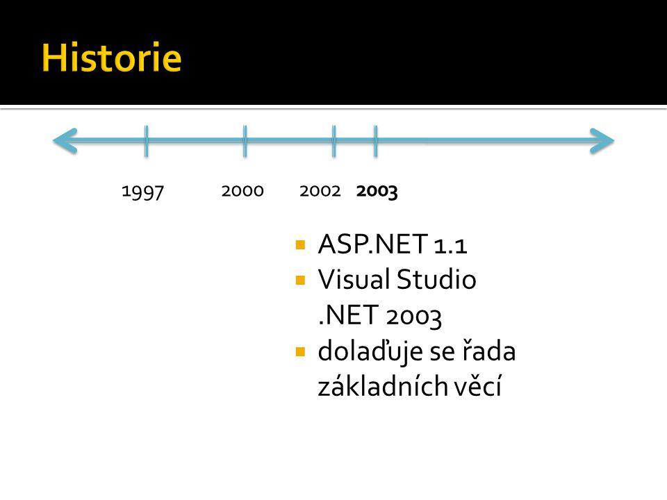  ASP.NET 1.1  Visual Studio.NET 2003  dolaďuje se řada základních věcí 1997200020022003