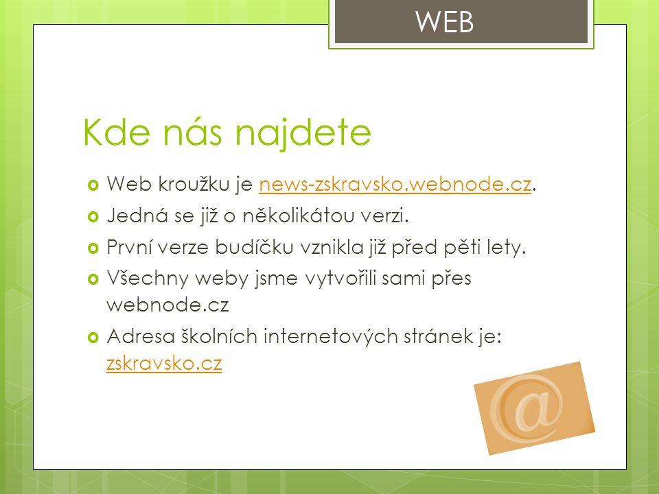 Kde nás najdete  Web kroužku je news-zskravsko.webnode.cz.news-zskravsko.webnode.cz  Jedná se již o několikátou verzi.