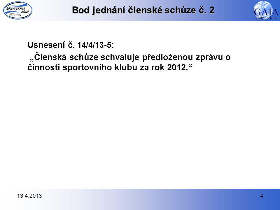 13.4.20134 Bod jednání členské schůze č. 2 Usnesení č.