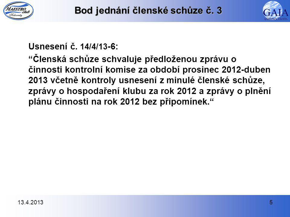 13.4.20135 Bod jednání členské schůze č. 3 Usnesení č.