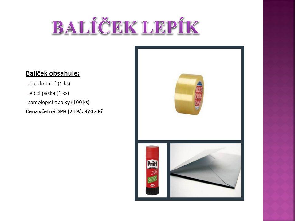 Balíček obsahuje: - lepidlo tuhé (1 ks) - lepící páska (1 ks) - samolepící obálky (100 ks) Cena včetně DPH (21%): 370,- Kč