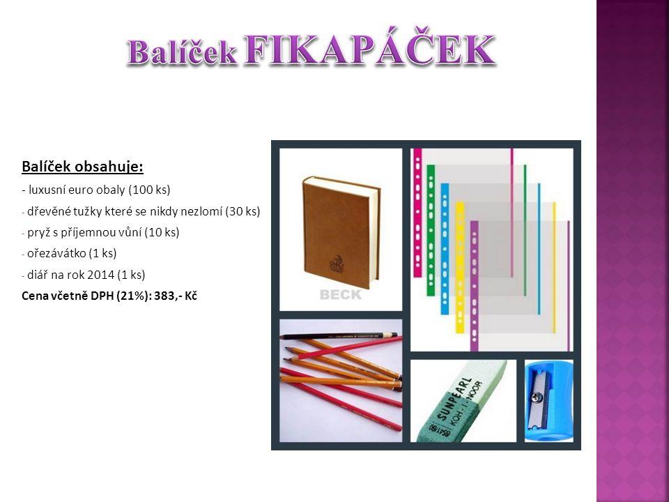 Balíček obsahuje: - luxusní euro obaly (100 ks) - dřevěné tužky které se nikdy nezlomí (30 ks) - pryž s příjemnou vůní (10 ks) - ořezávátko (1 ks) - diář na rok 2014 (1 ks) Cena včetně DPH (21%): 383,- Kč