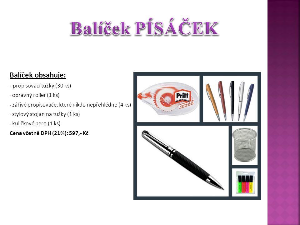 Balíček obsahuje: - propisovací tužky (30 ks) - opravný roller (1 ks) - zářivé propisovače, které nikdo nepřehlédne (4 ks) - stylový stojan na tužky (1 ks) - kuličkové pero (1 ks) Cena včetně DPH (21%): 597,- Kč