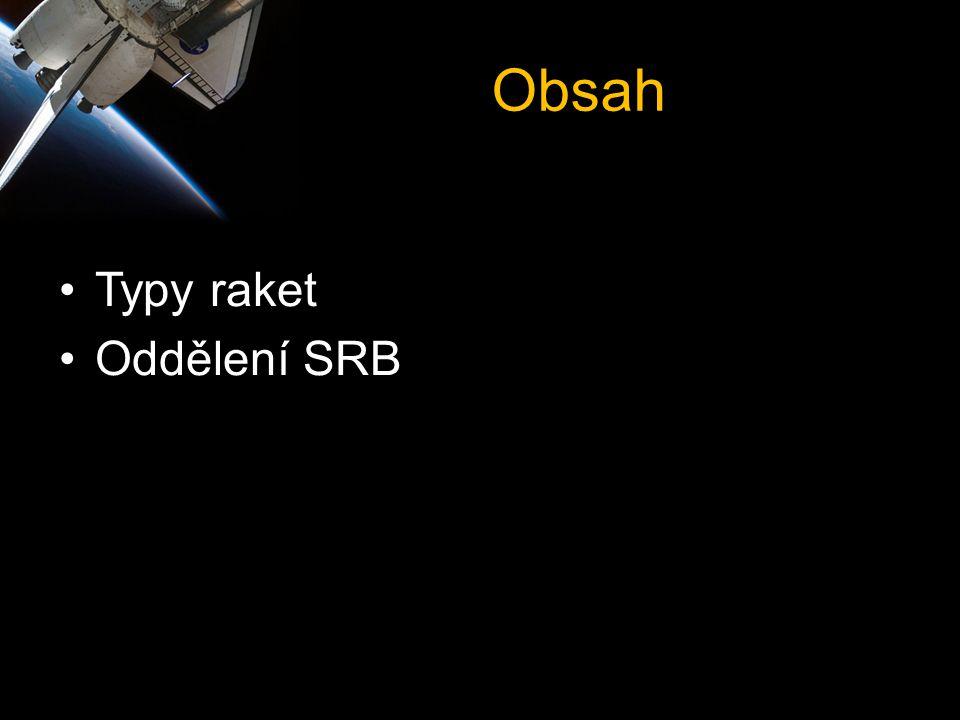 Obsah •Typy raket •Oddělení SRB