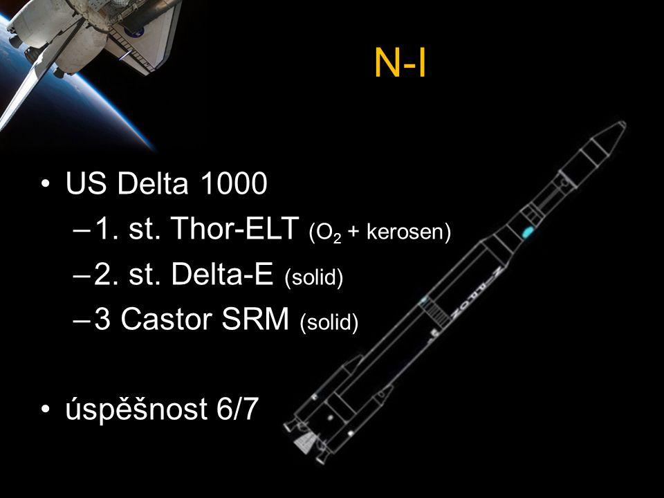 N-I •US Delta 1000 –1. st. Thor-ELT (O 2 + kerosen) –2. st. Delta-E (solid) –3 Castor SRM (solid) •úspěšnost 6/7