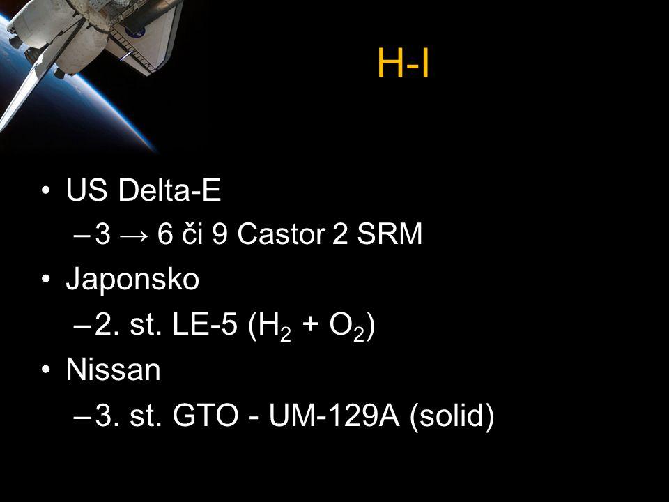 H-I •US Delta-E –3 → 6 či 9 Castor 2 SRM •Japonsko –2. st. LE-5 (H 2 + O 2 ) •Nissan –3. st. GTO - UM-129A (solid)