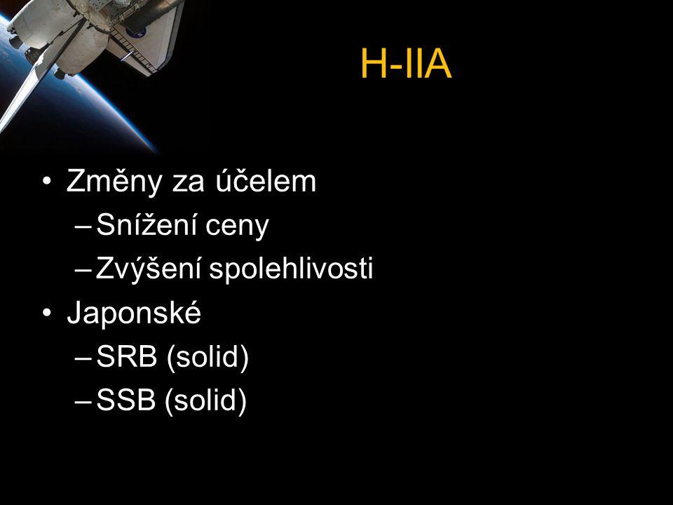 H-IIA •Změny za účelem –Snížení ceny –Zvýšení spolehlivosti •Japonské –SRB (solid) –SSB (solid)