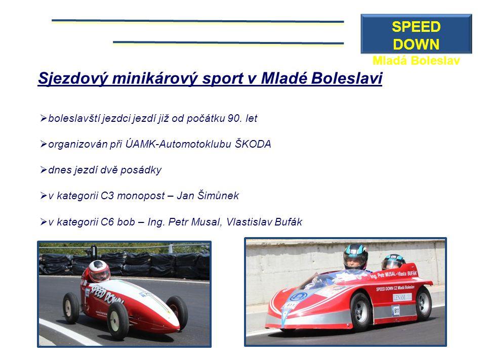 Sjezdový minikárový sport v Mladé Boleslavi  boleslavští jezdci jezdí již od počátku 90. let  organizován při ÚAMK-Automotoklubu ŠKODA  dnes jezdí