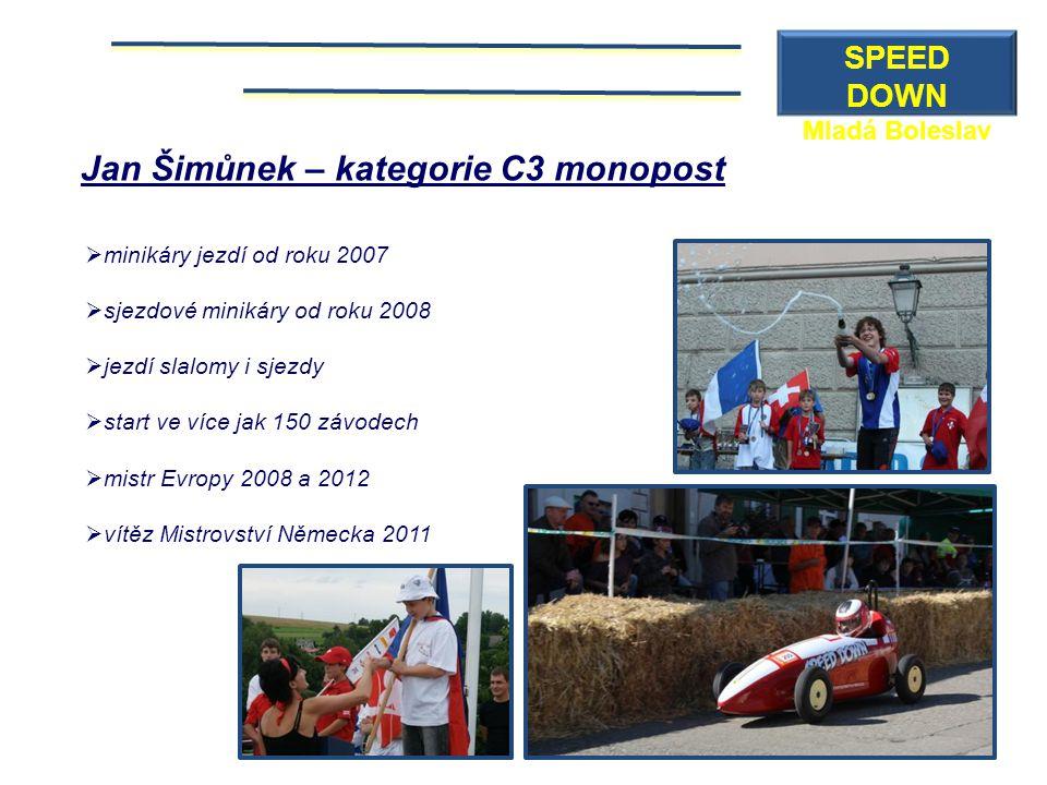 Jan Šimůnek – kategorie C3 monopost  minikáry jezdí od roku 2007  sjezdové minikáry od roku 2008  jezdí slalomy i sjezdy  start ve více jak 150 zá