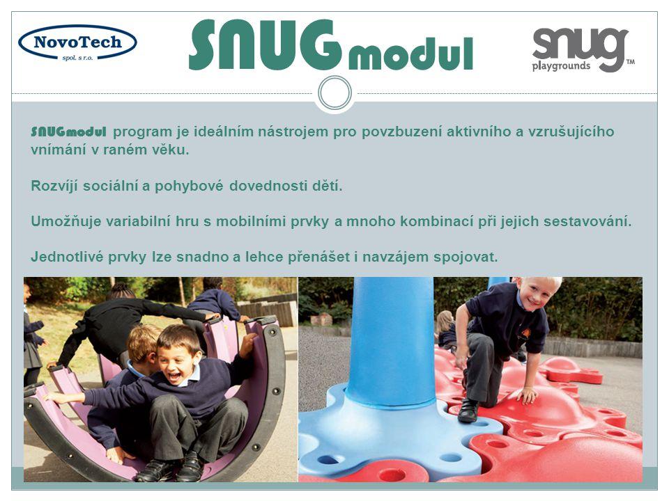 SNUGmodul program je ideálním nástrojem pro povzbuzení aktivního a vzrušujícího vnímání v raném věku. Rozvíjí sociální a pohybové dovednosti dětí. Umo