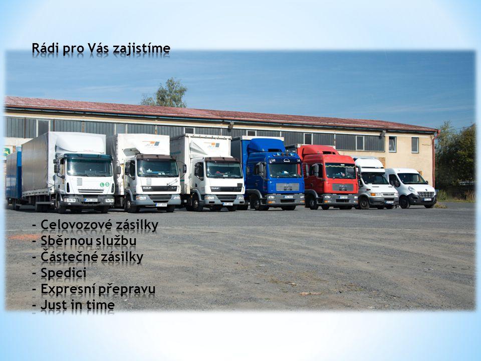 Náš vozový pak zahrnuje vozidla následující tonáže: - Pick up (osobní vozidlo) - Dodávka (3pal) - Plachtová dodávka (5-8pal) - Solo s hydraulickým čelem (16-19pal)