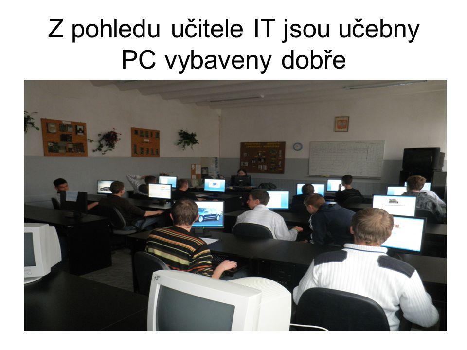 Z pohledu učitele IT jsou učebny PC vybaveny dobře