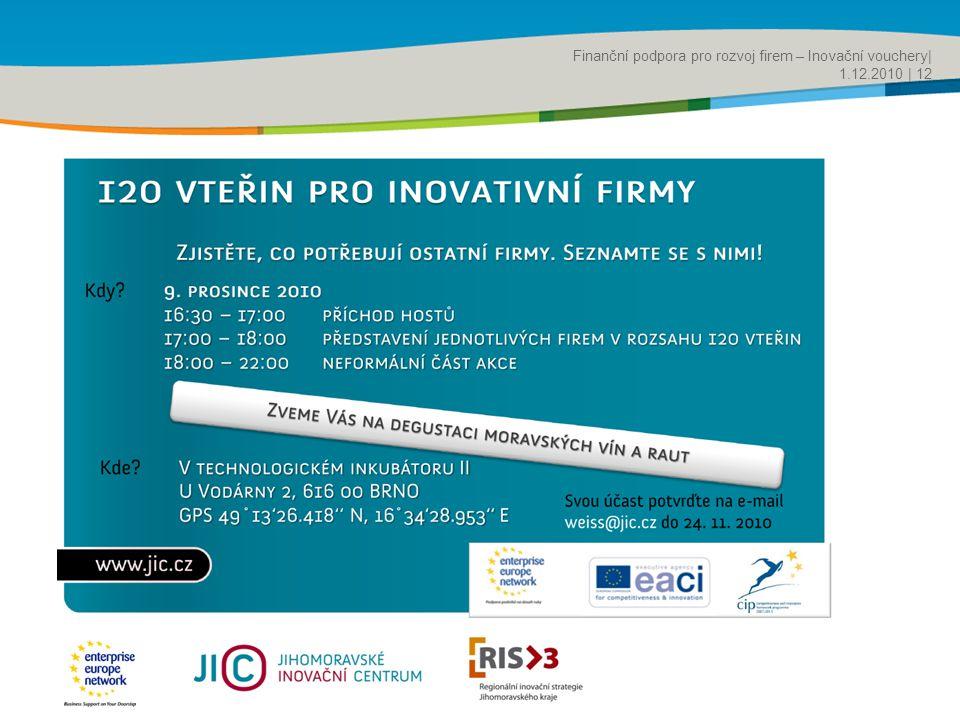 Title of the presentation | Date |‹#› Finanční podpora pro rozvoj firem – Inovační vouchery| 1.12.2010 | 12