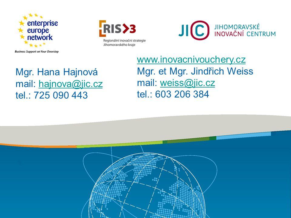 Mgr. Hana Hajnová mail: hajnova@jic.czhajnova@jic.cz tel.: 725 090 443 www.inovacnivouchery.cz Mgr.