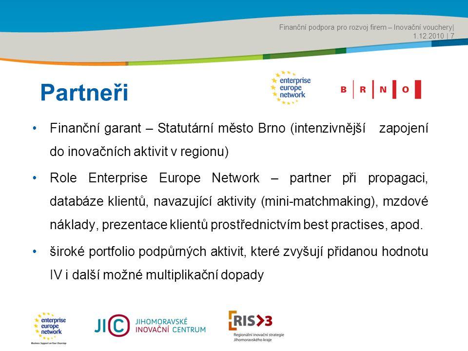 Title of the presentation | Date |‹#› Partneři •Finanční garant – Statutární město Brno (intenzivnější zapojení do inovačních aktivit v regionu) •Role Enterprise Europe Network – partner při propagaci, databáze klientů, navazující aktivity (mini-matchmaking), mzdové náklady, prezentace klientů prostřednictvím best practises, apod.