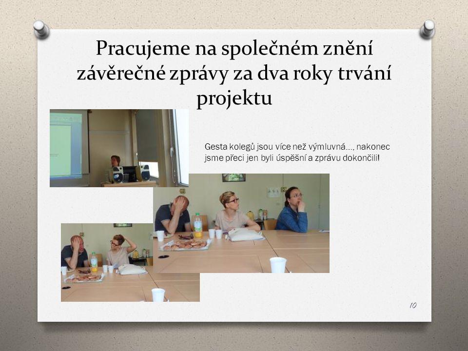Pracujeme na společném znění závěrečné zprávy za dva roky trvání projektu 10 Gesta kolegů jsou více než výmluvná…, nakonec jsme přeci jen byli úspěšní