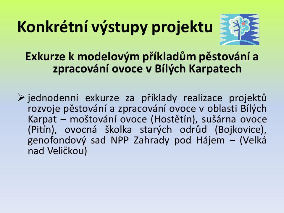 Konkrétní výstupy projektu Exkurze k modelovým příkladům pěstování a zpracování ovoce v Bílých Karpatech  jednodenní exkurze za příklady realizace pr