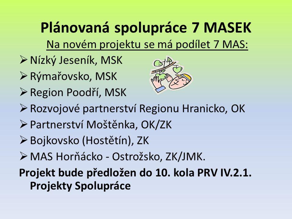 Plánovaná spolupráce 7 MASEK Na novém projektu se má podílet 7 MAS:  Nízký Jeseník, MSK  Rýmařovsko, MSK  Region Poodří, MSK  Rozvojové partnerstv