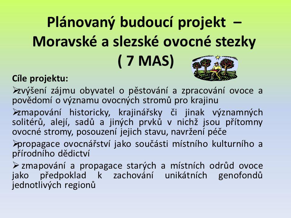 Plánovaný budoucí projekt – Moravské a slezské ovocné stezky ( 7 MAS) Cíle projektu:  zvýšení zájmu obyvatel o pěstování a zpracování ovoce a povědom