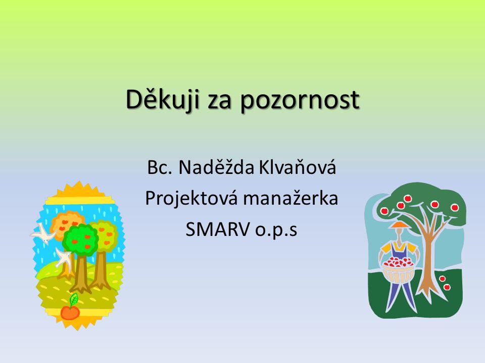 Děkuji za pozornost Bc. Naděžda Klvaňová Projektová manažerka SMARV o.p.s