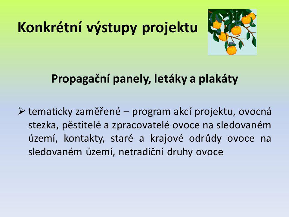 Konkrétní výstupy projektu Propagační panely, letáky a plakáty  tematicky zaměřené – program akcí projektu, ovocná stezka, pěstitelé a zpracovatelé o