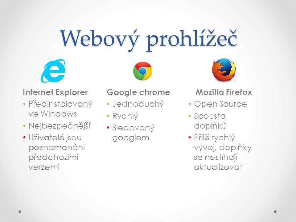 Webový prohlížeč Internet Explorer • Předinstalovaný ve Windows • Nejbezpečnější • Uživatelé jsou poznamenáni předchozími verzemi Google chrome • Jedn