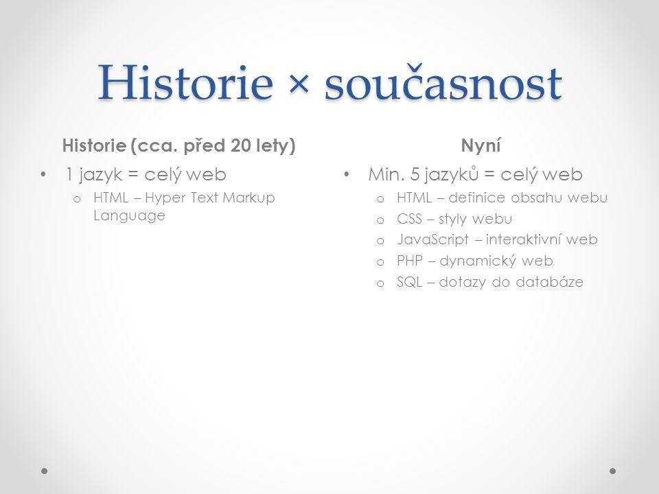 Historie × současnost Historie (cca. před 20 lety)Nyní • 1 jazyk = celý web o HTML – Hyper Text Markup Language • Min. 5 jazyků = celý web o HTML – de
