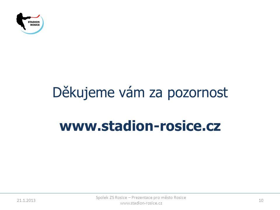 Děkujeme vám za pozornost www.stadion-rosice.cz 21.1.201310 Spolek ZS Rosice – Prezentace pro město Rosice www.stadion-rosice.cz