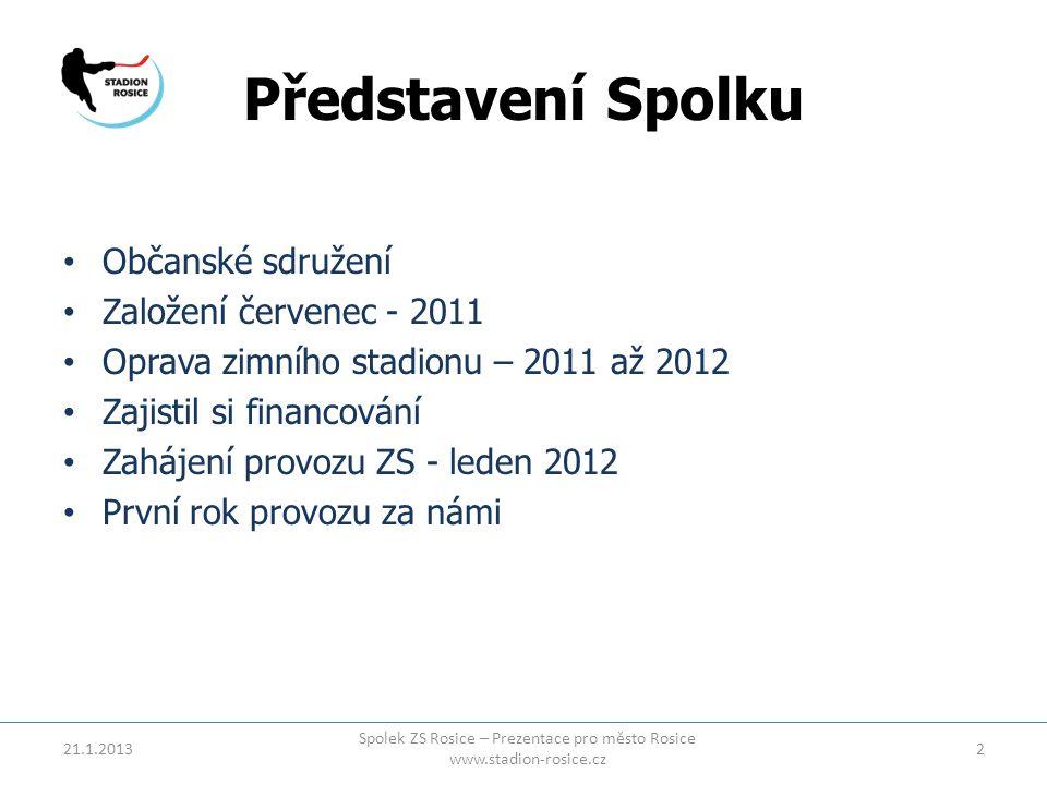Představení Spolku • Občanské sdružení • Založení červenec - 2011 • Oprava zimního stadionu – 2011 až 2012 • Zajistil si financování • Zahájení provoz