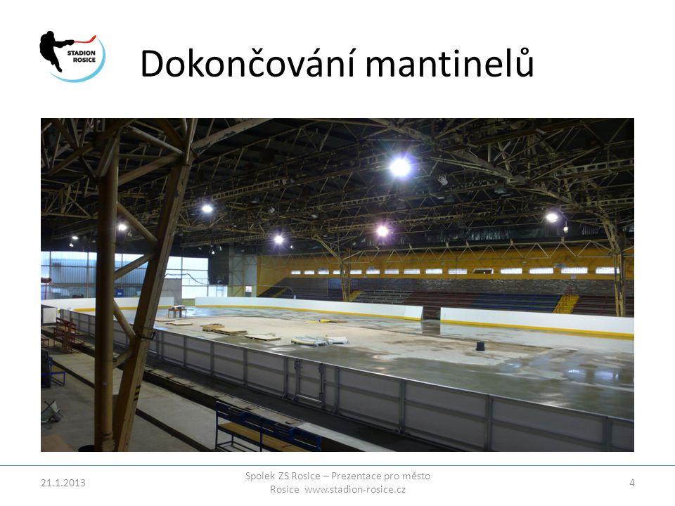 Dokončování mantinelů 21.1.2013 Spolek ZS Rosice – Prezentace pro město Rosice www.stadion-rosice.cz 4