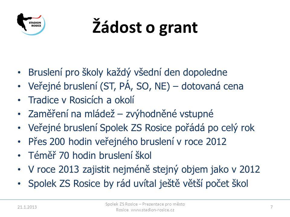 Žádost o grant 21.1.2013 Spolek ZS Rosice – Prezentace pro město Rosice www.stadion-rosice.cz 7 • Bruslení pro školy každý všední den dopoledne • Veře