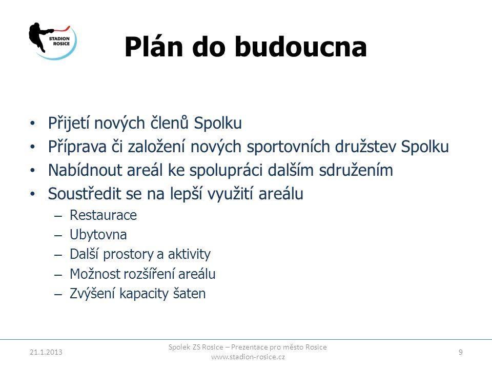 Plán do budoucna • Přijetí nových členů Spolku • Příprava či založení nových sportovních družstev Spolku • Nabídnout areál ke spolupráci dalším sdruže