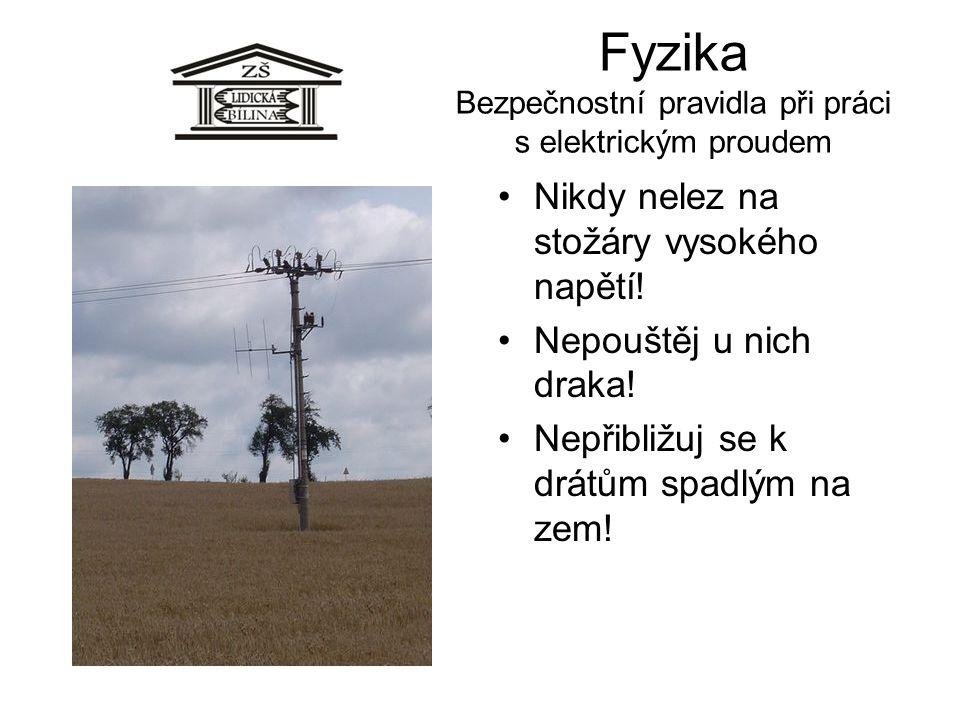 Fyzika Bezpečnostní pravidla při práci s elektrickým proudem •Nikdy nelez na stožáry vysokého napětí! •Nepouštěj u nich draka! •Nepřibližuj se k drátů
