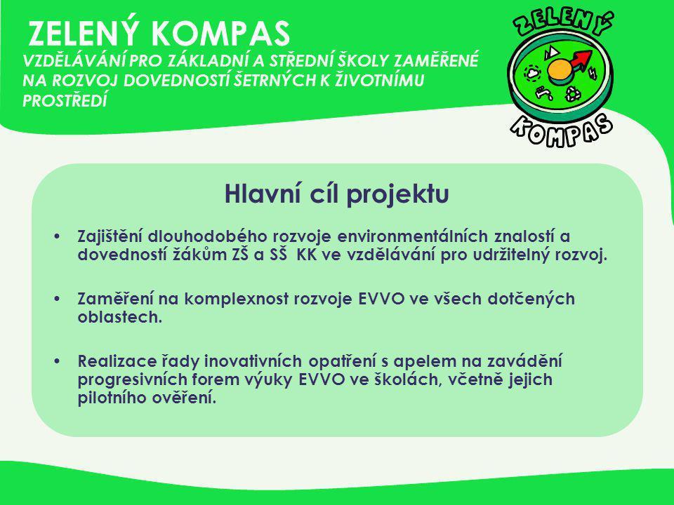 ZELENÝ KOMPAS Hlavní cíl projektu • Zajištění dlouhodobého rozvoje environmentálních znalostí a dovedností žákům ZŠ a SŠ KK ve vzdělávání pro udržitel